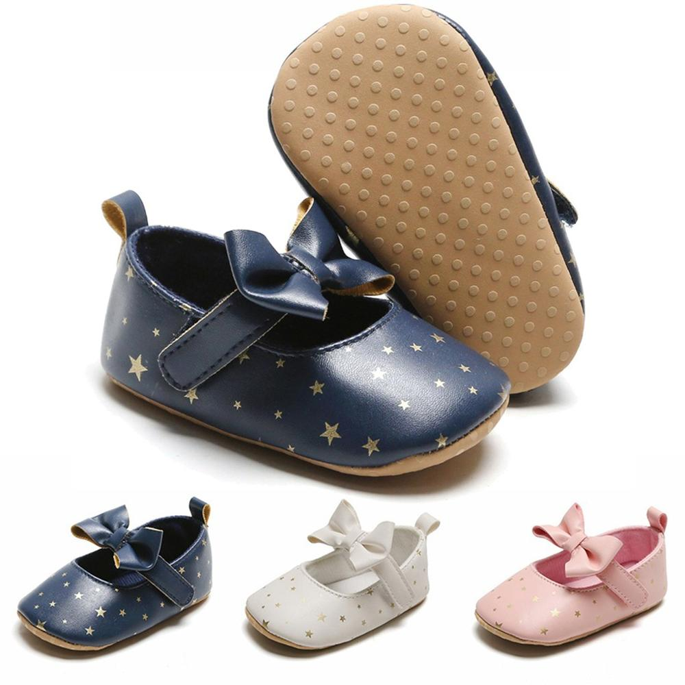 Toddler Kids Baby Girls Princess Cute First Walk Star Printed Bow Shoes Fashion Infant PU Leather Soft Shoes Low Price
