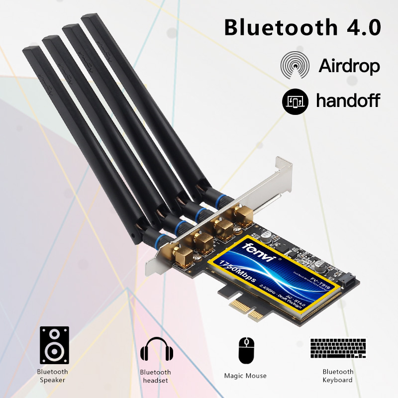 Fenvi T919 1750Mbps PCIe Desktop Wifi Card BCM94360CD For macOS Hackintosh 802.11ac Bluetooth 4.0 Dual Band Wireless Adapter 3