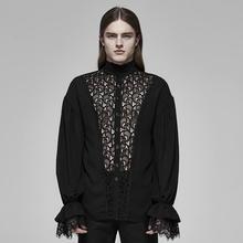 Men Blouse Thin-Shirt Flower-Pattern Long-Sleeve Gothic Flare-Cuff Punk-Lace Stage-Party