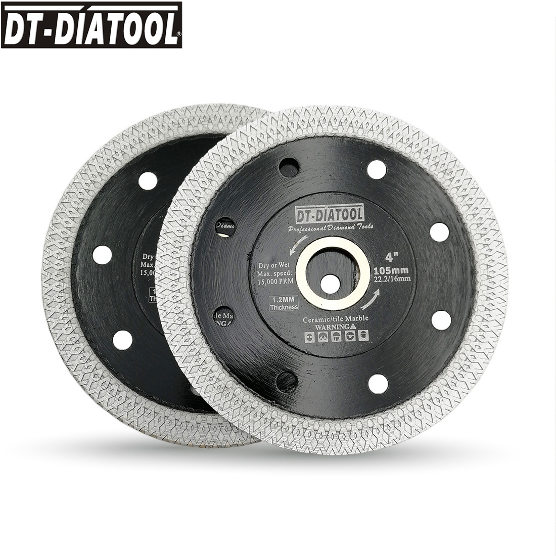 DT-DIATOOL 2pcs Dia 105/115/125 Mm Diamond Superthin Saw Blades X Mesh Turbo Rim Segment Cutting Disc Tile Ceramic Marble Blade