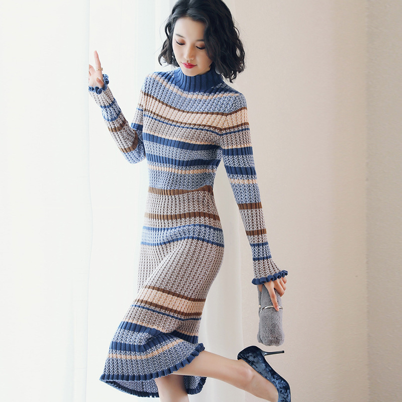 Dress 2019 Autumn And Winter New Style Korean-style Printed Crew Neck Pullover Mid-length Knitted High-waisted Pleated Skirt