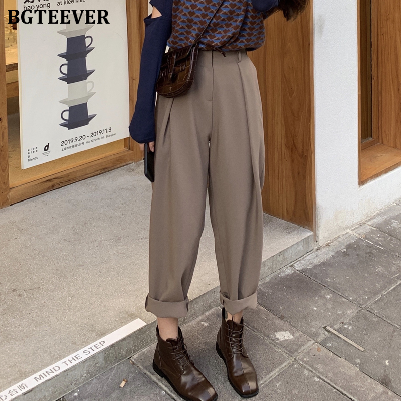 BGTEEVER Fashion Half-elastic Waist Loose Harem Pants Women Casual Long Suit Pants Female Pockets Women Trousers Pantalon Femme