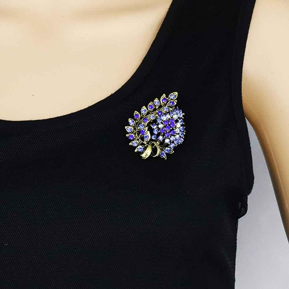 Pesona Kristal Biru Multi-Warna Daun Bros Pin Berlian Imitasi Daun Syal Klip Logam Lencana Bros untuk Wanita Pernikahan Perhiasan