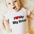 Летняя одежда для маленьких девочек с надписью «I Love My Big Sister» Детский костюм с короткими рукавами, боди для новорожденных мальчиков и девоче...