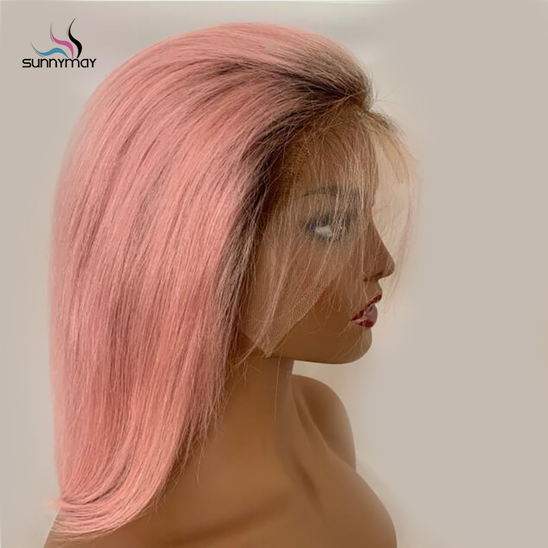 Sunnymay 13x4 Bob Wigs Pre Plucked Lace Front Human Hair Wig 130% Short Straight Lace Front Wig Pink Color Ombre Remy Human Wigs