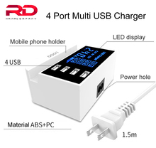 HUB 4 Port Multi USB ładowarka Usb LED adapter ładowarka ścienna dla Iphone telefon komórkowy szybkie ładowanie biurko stacja dokująca ue US UK wtyczka