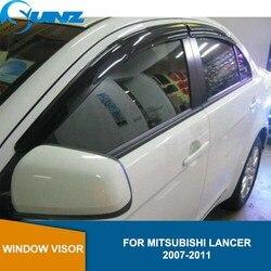 Auto styling Acryl Fenster Windabweiser Visor Regen Sonnenschutz Vent Für Mitsubishi Lancer 2008 2009 2010 2011 SUNZ