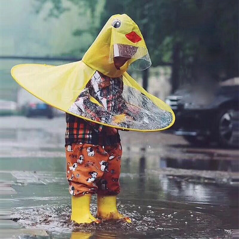 PPXX Yellow Duck Cartoon Children Raincoat Jacket Waterproof Outfit Rain Cover Baby Kids Poncho Cloak