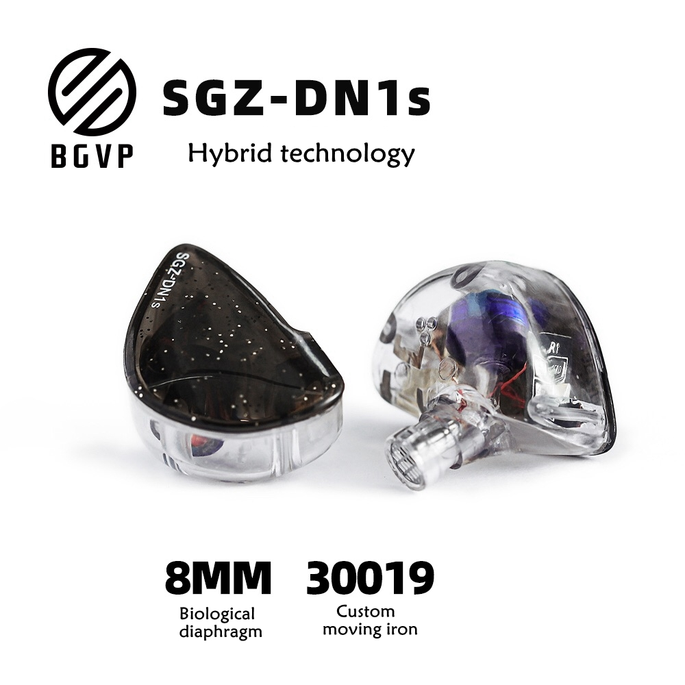 BGVP DN1S HIFI Heavy Bass Hybrid-Earphone MMCX Detachable Interface Balanced Armature Dynamic Driver IEMs Resin Shell With MIC image