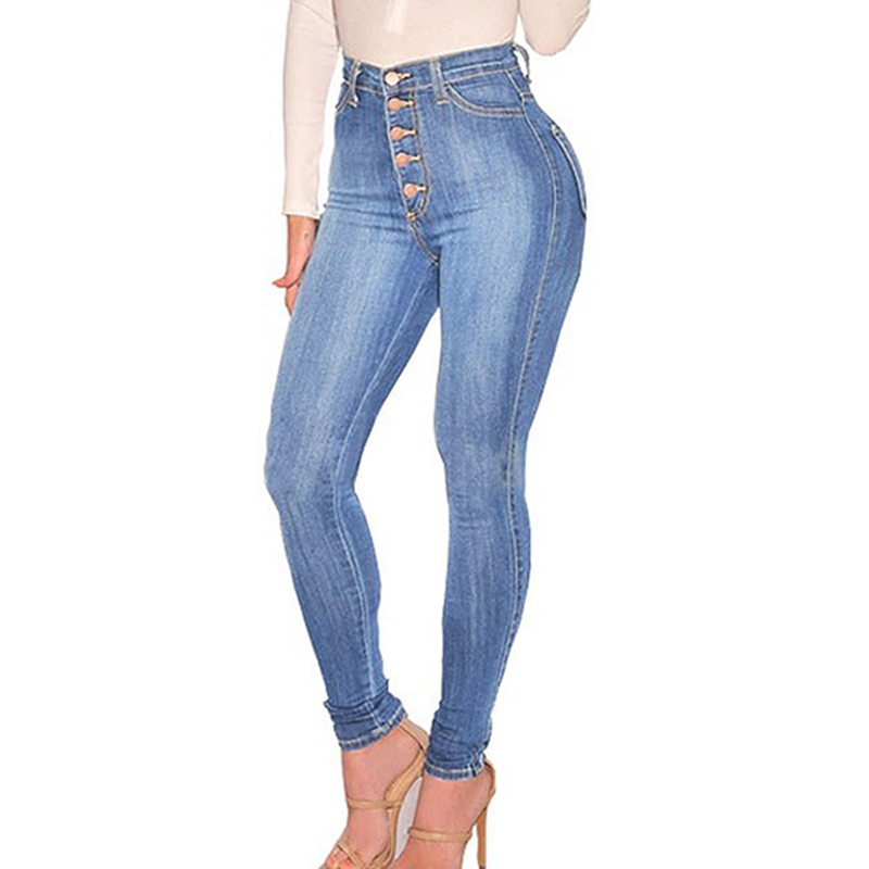 Autumn Casual Jeans Women 2020 High Waist Slim Fit Female Denim Pants Skinny Botton Sexy Ladies Jeans Blue Denim Trousers