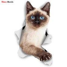 FTC-1040 três ratels 3d gato adesivos breakout siamese adesivos para parede geladeira higiênico diário papelaria álbum flocos scrapbookin