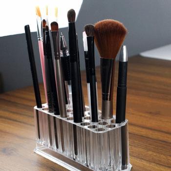 2019 caja de cosméticos transparente portátil delineador de ojos transparente delineador de labios soporte de lápiz 26 ranuras organizador de exhibición de maquillaje