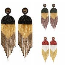 Fashion Multicolor Beads Drop Earrings Bohemian Handmade Beaded Long Tassel Earrings For Women Statement  Ethnic Jewelry bohemian beaded tassel drop earrings