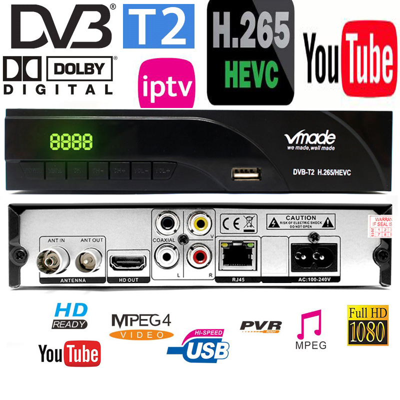 DVB-T2 Digital Receiver Support H.265/HEVC/H.264 H265 Code Compatible HD DVB-T With Dolby Ac3 Hot Sale Czech Netherlands Germany