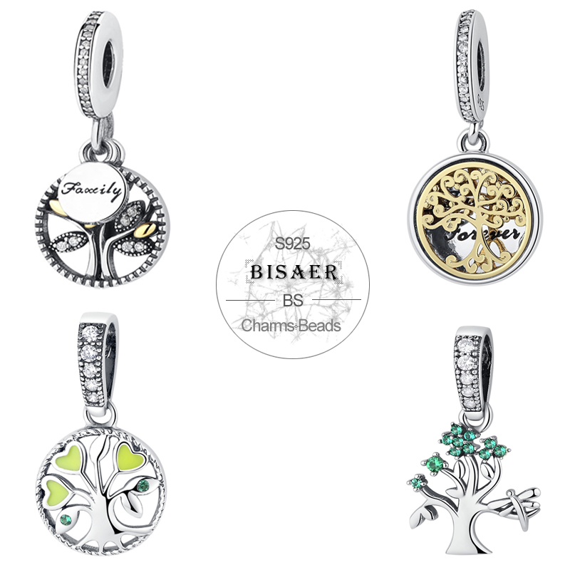Genuine 925 Sterling Silver Family Forever Tree of Life Silver Dangle Pendant <font><b>Charm</b></font> Fit Original <font><b>PAN</b></font> <font><b>Charm</b></font> <font><b>Bracelet</b></font> Jewelry image