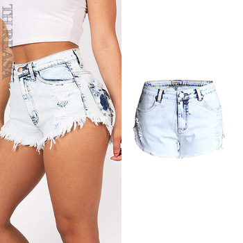 New Trend Ripped Jeans Women's High-waist Light-colored Frayed Washed Frayed Denim Shorts Large Size фото
