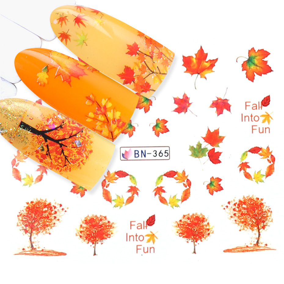 Image 4 - 12 Designs Fall Leaves Nail Sticker Water Transfer Nail Art Decal Autumb Yellow Maple Leaf Turkey Nails Decorations JIBN361 372-in Stickers & Decals from Beauty & Health