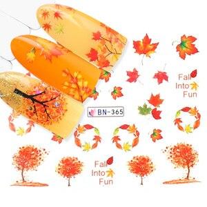 Image 4 - 12 wzorów liście jesienne naklejka do paznokci woda Transfer paznokci artystyczne naklejki Autumb żółty liść klonu turcja paznokcie ozdoby JIBN361 372