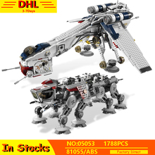 IN Stock 05053 Genuine Star Wars Republic Dropship with AT-OT Walker Set Building Blocks Bricks Compatible Lepining 10195 Toys in stock 05042 star 1200pcs series wars the republic fighting cruiser set building blocks bricks educational toys lepin