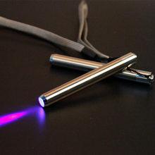 Aço inoxidável mini lâmpada de bolso led 365/395 lanterna uv tocha ultra violeta luz aa bateria para detecção marcador verificador