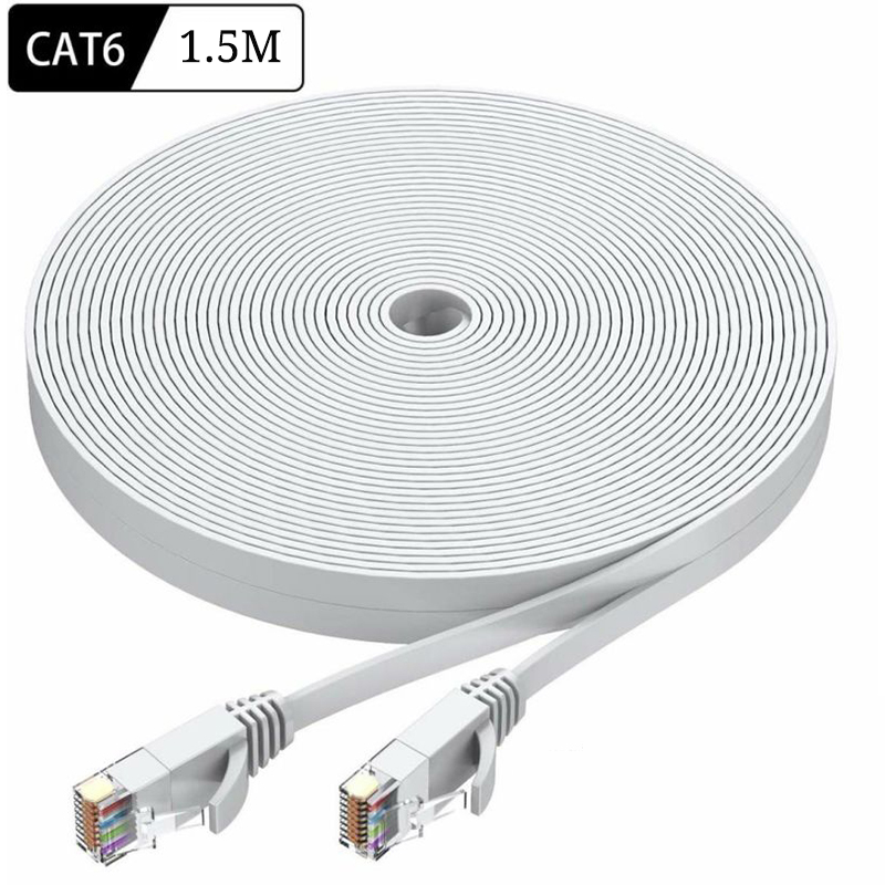 1.5m Ultrafine Ethernet Patch Cable CAT6 Internet Network Flat Cable Cord Patch Lead RJ45 For Router Laptop Cable