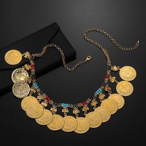 Image 2 - Металлическая монета большой Аллаха колье в мусульманском стиле для Женщин Арабские монеты роскошные свадебные подарки ислам Ближний Восток африканские ювелирные изделия Новинка