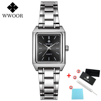 2020 WWOOR Top Brand Luxury Women Square Watches xfcs Genuine Leather Quartz Small Dial Wrist Watch Gifts For Women Montre Femme - Black-G