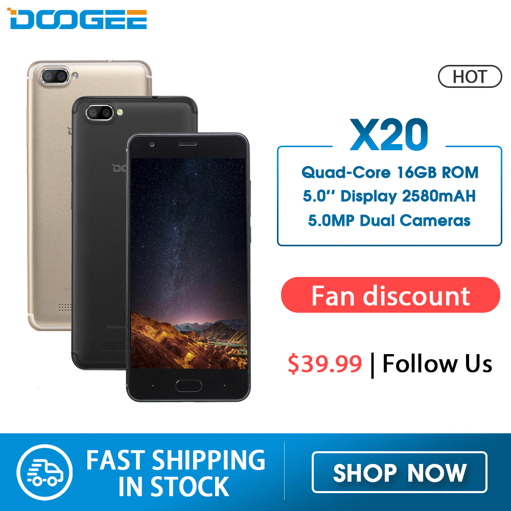 DOOGEE X20 Mobile Phone Dual Camera 5.0MP+5.0MP Android 7.0 2580mAh 5.0''HD MTK6580A Quad Core 1GB RAM 16GB ROM Smartphone WCDMA