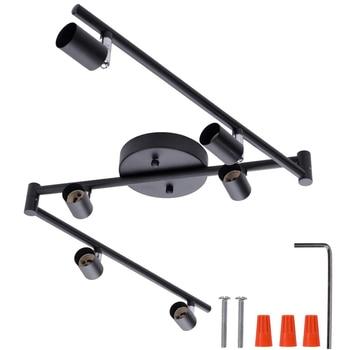 4 / 6 Heads Black/Silver LED Chandeliers Light Morden Industrial Sytle GU10 Base For Bedroom Living Room