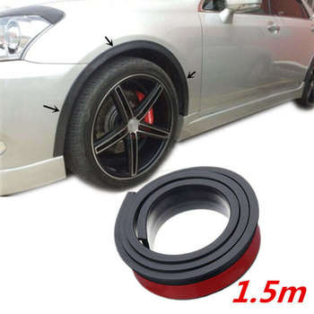 Universal 1.5M Black Car Fender Flare Wheel Eyebrow Protector Arch Trim Strip 4.5cmx1.5m Wheel Eyebrow Strip image