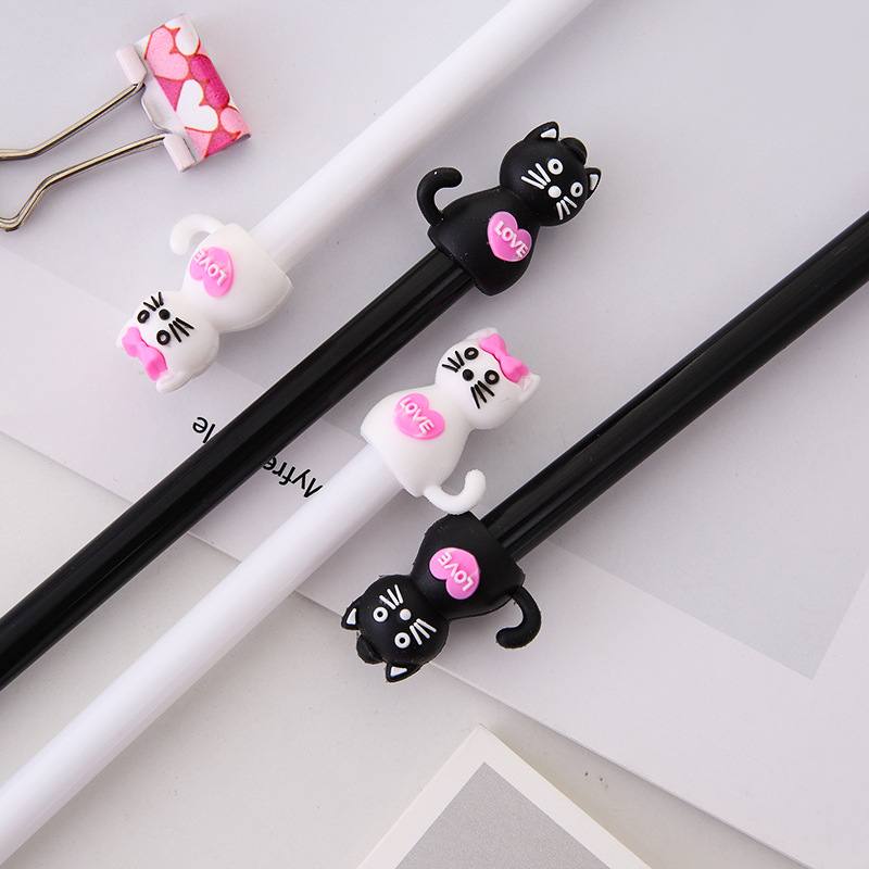 2 Pcs/lot Cartoon Black Cat Gel Pen Cute Kawaii Plastic Pens For Writing Stationery Black Ink 0.5mm Office School Supplies 2019