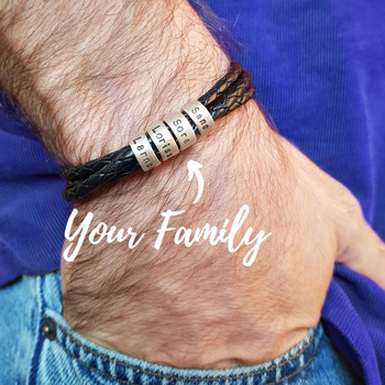 Personalized Custom Names Men Braided Rope Genuine Leather Magnetic Buckle Bracelet With Stainless Steel Beads Husband Gift personalized custom names men braided rope genuine leather magnetic buckle bracelet with stainless steel beads husband gift