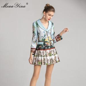 Image 4 - MoaaYina אופנה מעצב שמלת אביב סתיו נשים של שמלה ארוך שרוול הדפסת חרוזים טור כפתורים כפול קפלים שמלות
