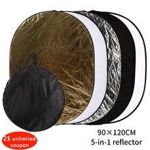 90x120 cm 5 In1 Oval reflektör taşınabilir fotoğraf stüdyosu fotoğraf katlanabilir işık el reflektör stüdyo reflektör