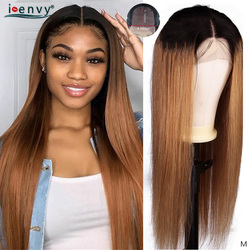 Ombre blond zamknięcie koronki peruki z ludzkich włosów brazylijski prosto miód blond 4X4 zamknięcie koronki peruki kolorowe 1B 30 koronkowe peruki nie Remy
