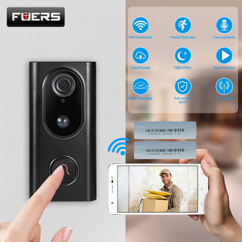 FUERS L16 Video DoorbeIl Intercome Smart Wireless WIFI Doorbell Visual Recording Home Monitor Night Vision Intercom Door Phone
