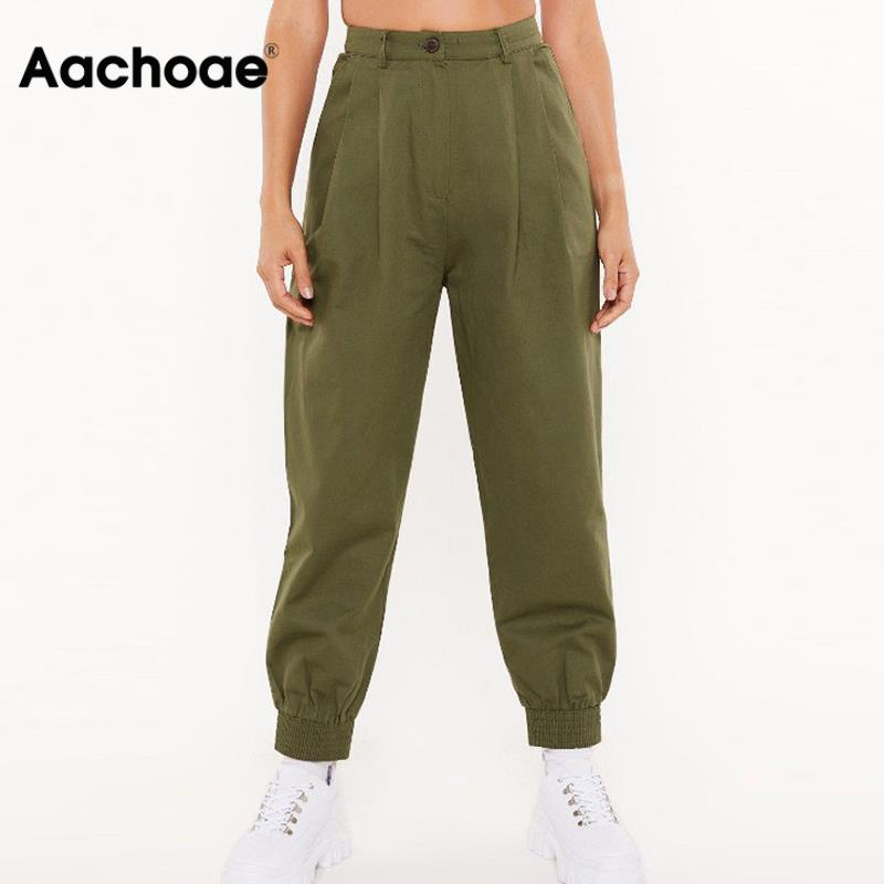 Fashion Women Streetwear Cargo Pants 2020 High Waist Solid Pleated Pants Trousers Ladies Loose Pockets Joggers Sweatpants