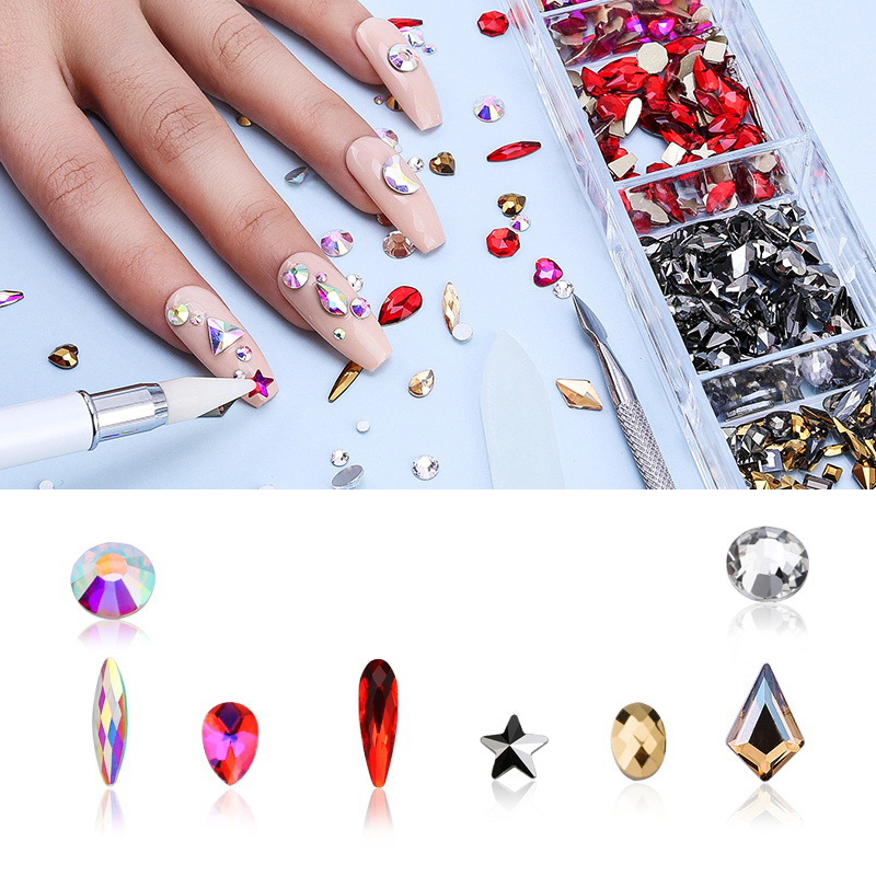 Nail Art Rhinestones Clear Crystals AB Gold Silver Mix Sizes Glass 3D  Beads Manicures For Nails Art Decorations DIY Nail Art Gl