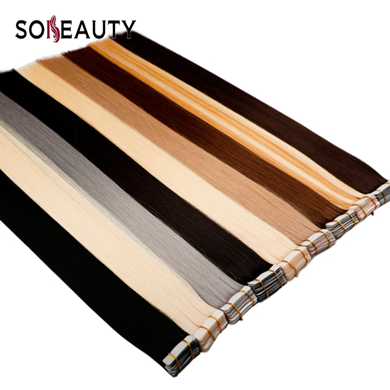Sobeauty Tape In Hair Extensions Human Hair Remy Brazilian Hair Skin Weft  Color 60# Double Drawn Hair Adhesive Extensions