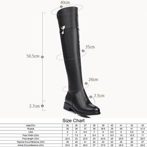 Image 2 - 2020 zimowe oryginalne skórzane buty do kolan damskie ciepłe buty do stovepipe plus duże rozmiary 35 43 na buty do kolan