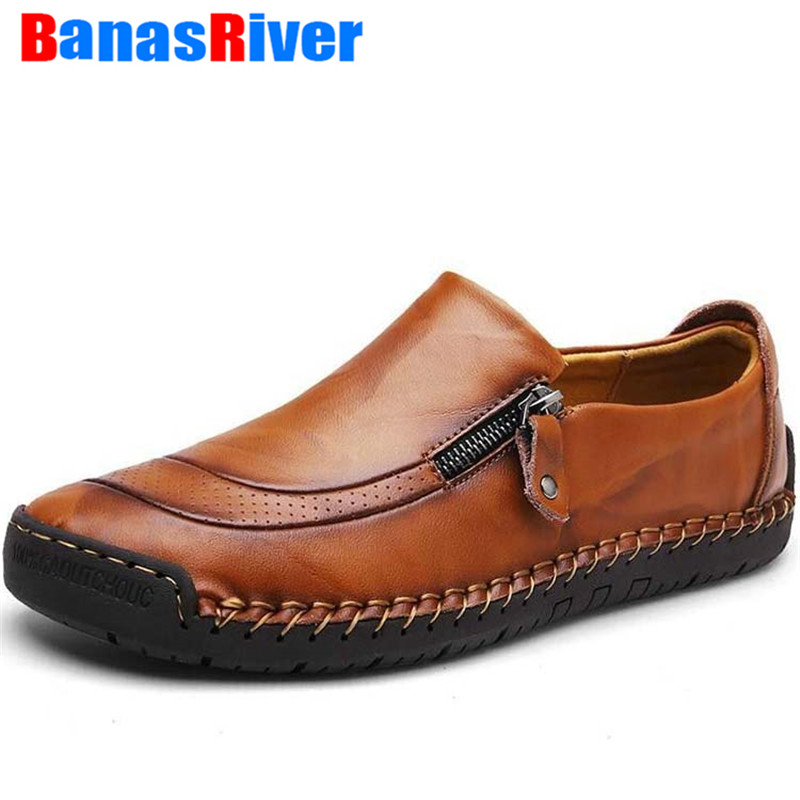 Big Size 38-48 Brand Leather Men Shoes Fashion Casual Breathable Flats Loafers Zippers Driving Sneakers Outdoor Walking Footwear