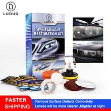 Luduo diy kits de polimento restauração farol limpo pasta sistemas lavagem do cuidado carro cabeça lâmpadas abrilhanter refurbish reparação