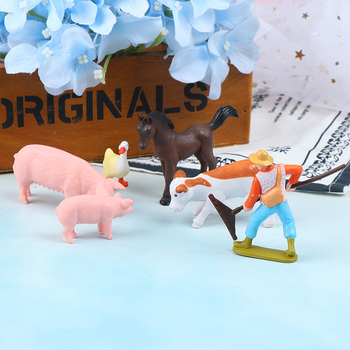 DIY Farmland Worker Pig Horse Cow Duck Animal Model figurine Goat home decor miniature fairy garden decoration accessories image