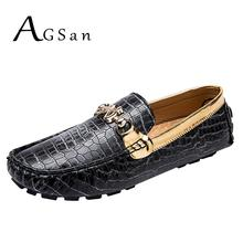 AGSan Men Luxury Brand Loafers Gold Driving Shoes Large Size 38-48 Moccasins for