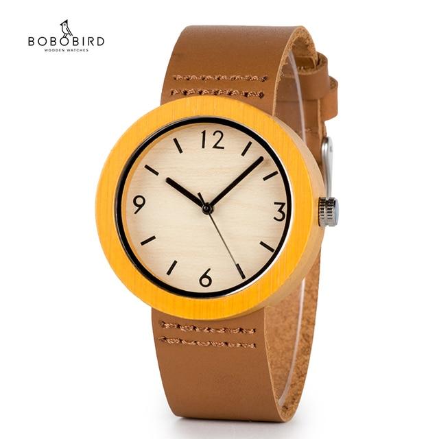 BOBO BIRD خشب من علامة تجارية ساعة نسائية ساعات خشب الخيزران ساعة اليد الإناث ساعة سيدة كوارتز ساعة relogio feminino C D18 2