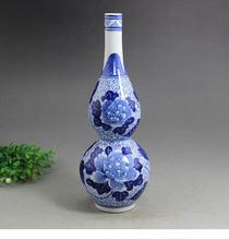 Artesanía de porcelana antigua hecha a mano azul y blanco de porcelana en forma de calabaza florero de peonía piezas de muebles