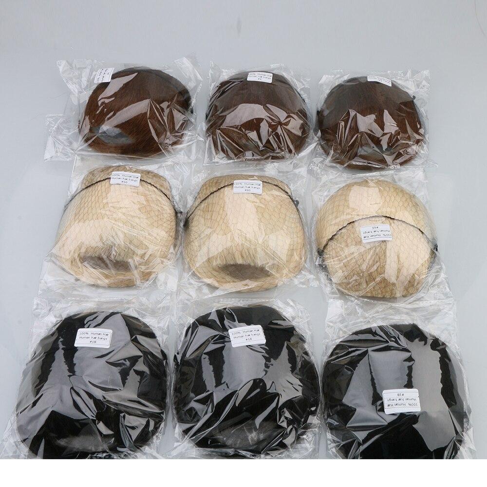 de extensão de cabelo real, 3 grampos, franja natural, 25g