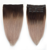 Sindra Clip in Human Hair Extensions Remy Brazilian Hair 6PCS Full Head Set Clip Hair Extensions