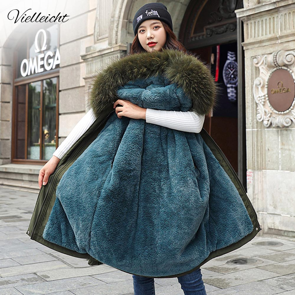 Vielleicht 2020 New Cotton Thicken Warm Winter Jacket Coat Women Casual Parka Winter Clothes Fur Lining Hooded Parka Mujer Coats(China)