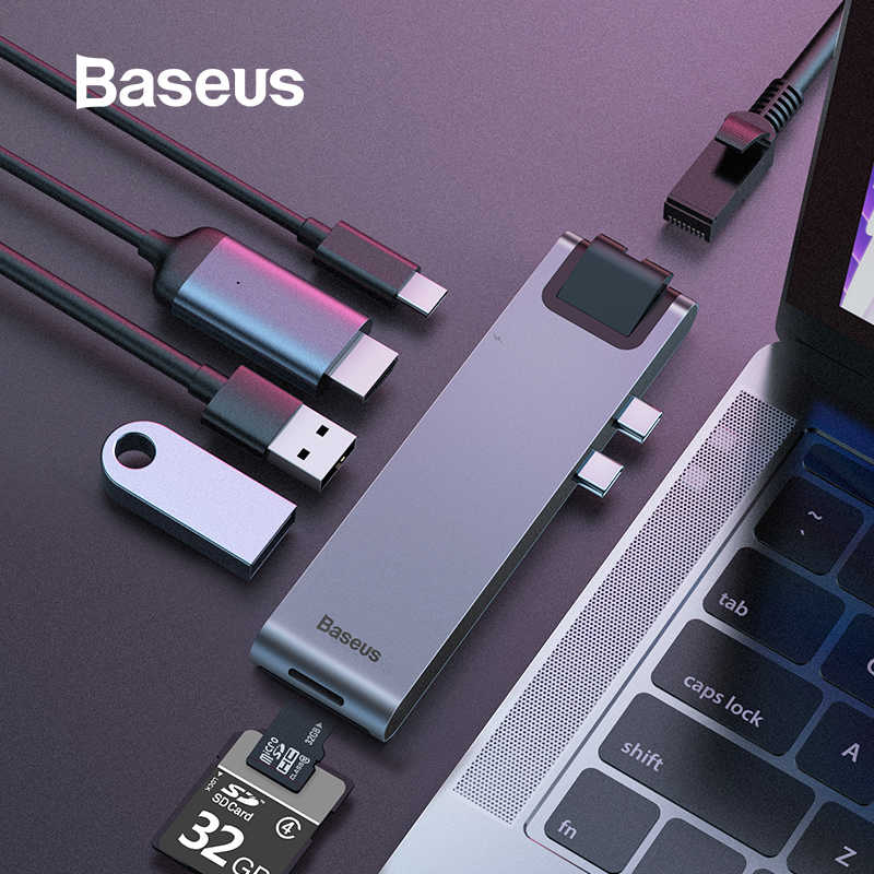 HUB USB Baseus C HUB vers Multi USB 3.0 adaptateur HDMI répartiteur USB pour MacBook Pro Thunderbolt 3 Dock RJ45 double USB type C HUB Dex